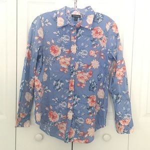 Women's blue and red floral blouse